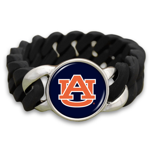 Auburn Tigers Black Stretchy Silicone College Bracelet