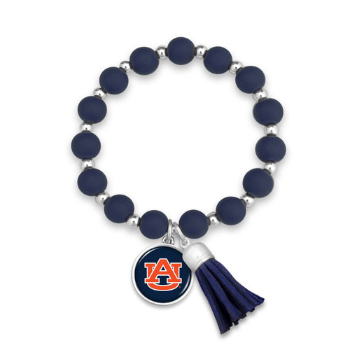 Auburn Tigers Team Color Silicone Beaded Stretch Tassel Bracelet