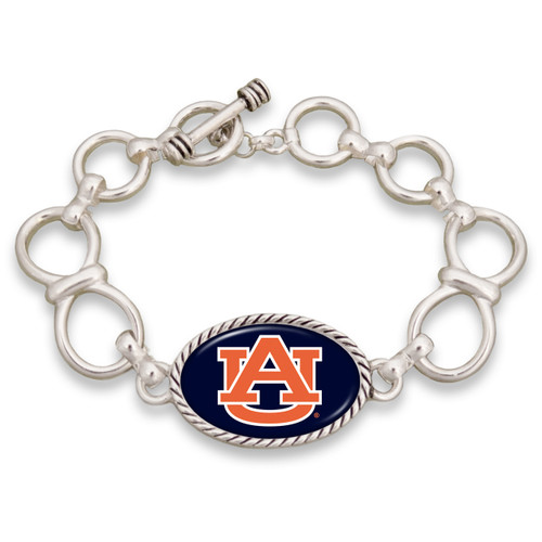 Auburn Tigers Silver Chain Toggle College Bracelet