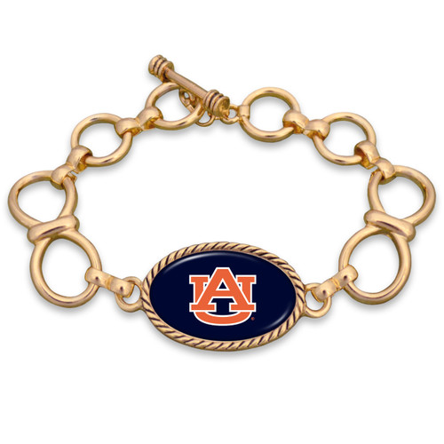 Auburn Tigers Gold Chain Toggle College Bracelet