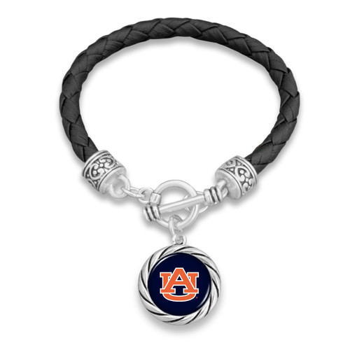 Auburn Tigers Twisted Rope and Black Leather Bracelet
