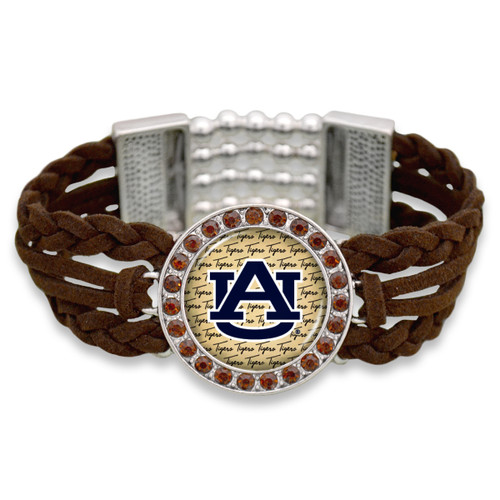 Auburn Tigers Brown Braided Suede with Script Background College Bracelet