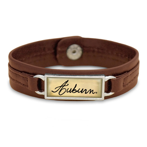 "Auburn Tigers Brown ""Edge"" Leather Nameplate with Tile Background College Bracelet"