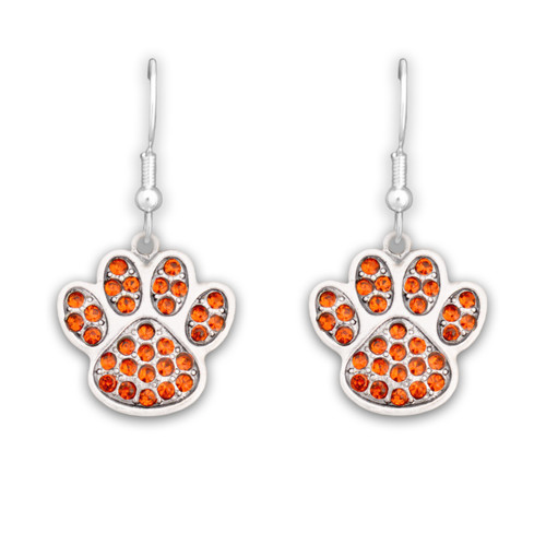 Team Spirit Jewelry- Crystal Paw Print Orange- Earrings