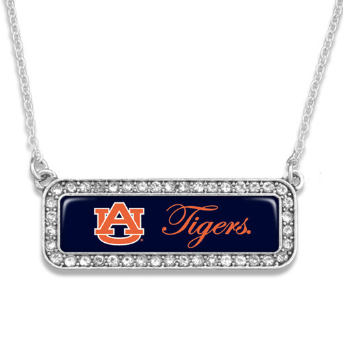 Auburn Tigers Silver Crystal Name Plate Necklace