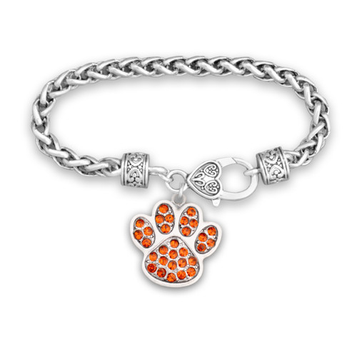 Team Spirit Jewelry- Crystal Paw Print Orange- Bracelet