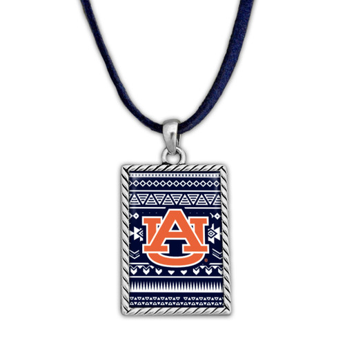 Auburn Tigers Rectangle Logo with Geometric Background Necklace