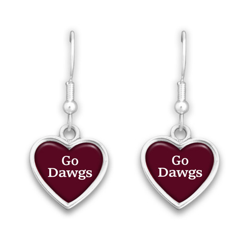 Mississippi State Bulldogs Spirit Slogan Heart Earrings