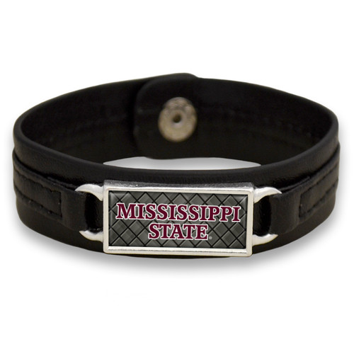 "Mississippi State Bulldogs Black ""Edge"" Leather Nameplate with Tile Background College Bracelet"