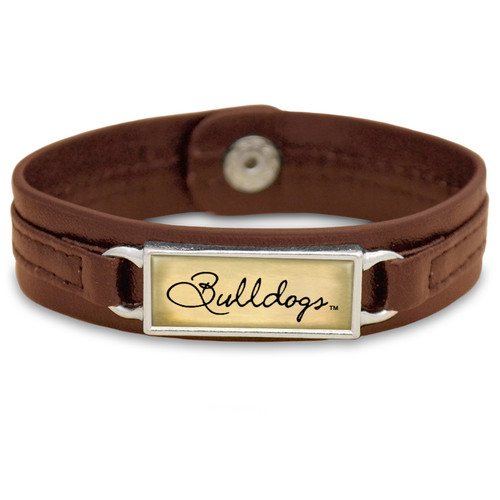 "Mississippi State Bulldogs Brown ""Edge"" Leather Nameplate with Tile Background College Bracelet"
