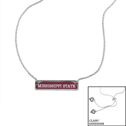 "Mississippi State Bulldogs ""Nameplate"" Slider Bead Adjustable Necklace/Choker"