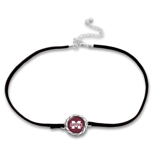 Mississippi State Bulldogs Black Suede Choker Necklace
