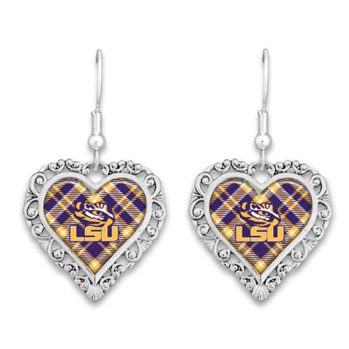 LSU Tigers Frills Heart- Plaid  Earrings