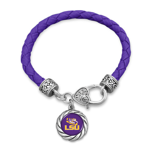 LSU Tigers Bracelet- Harvey Leather Twisted Rope