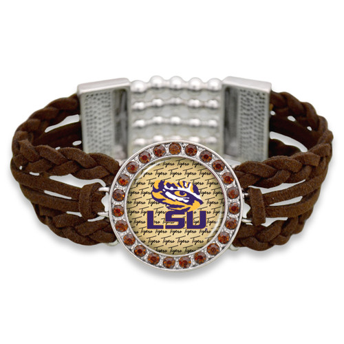 LSU Tigers Brown Braided Suede with Script Background College Bracelet