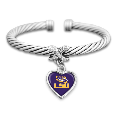 LSU Tigers Heart Drop with Crystal X Cuff Bracelet