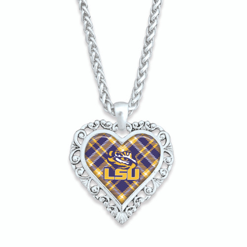 LSU Tigers Frills Heart- Plaid  Necklace