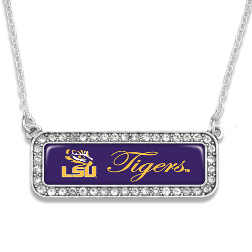 LSU Tigers Silver Crystal Name Plate Necklace