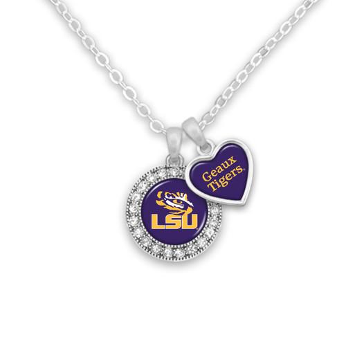 LSU Tigers Round Logo with Spirit Slogan Heart Necklace
