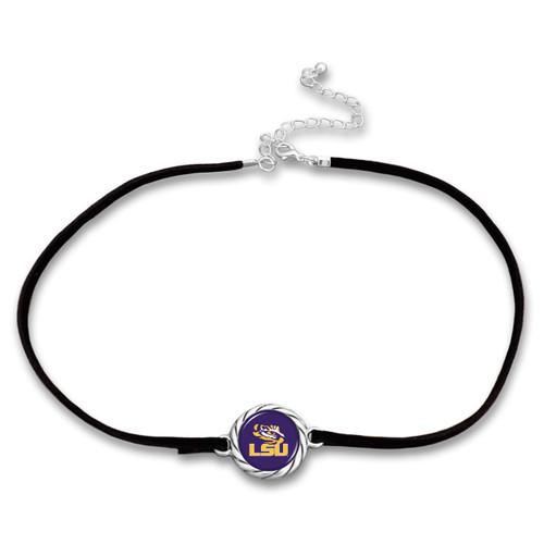 LSU Tigers Black Suede Choker Necklace