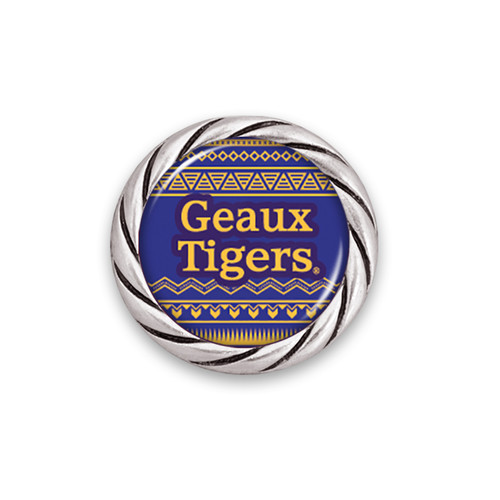 LSU Tigers Spirit Slogan Woven Aztec Snap Button