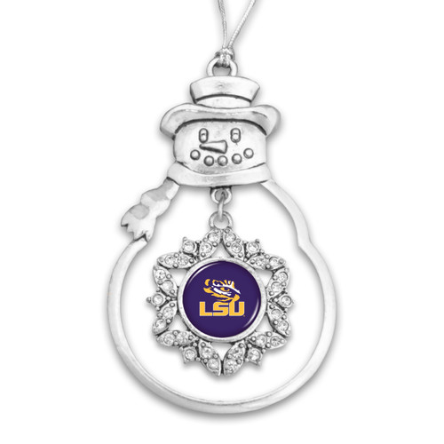 LSU Tigers Snowman Christmas Ornament