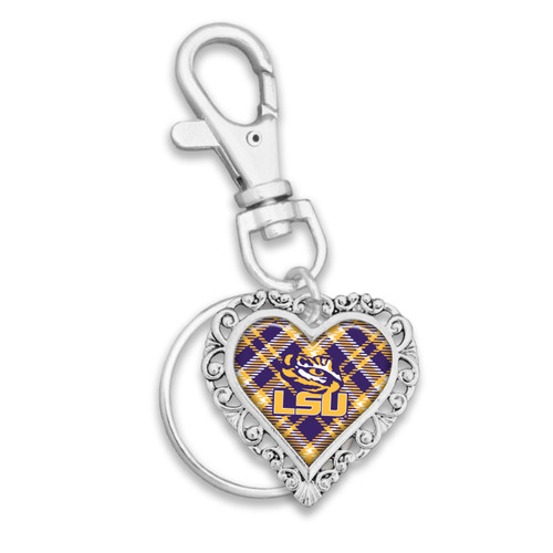 LSU Tigers Plaid Lace Trim Heart Key Chain/Zipper Pull
