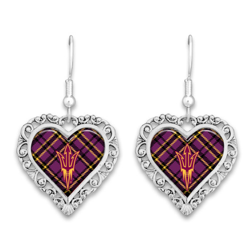 Arizona State Sun Devils Earrings- Plaid