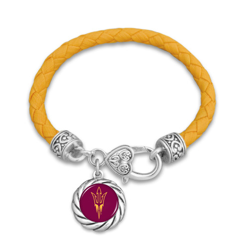 Arizona State Sun Devils Bracelet- Harvey Leather Twisted Rope