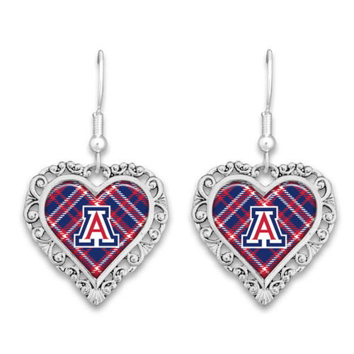 Arizona Wildcats Frills Heart- Plaid  Earrings