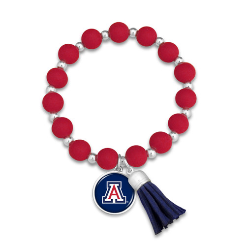 Arizona Wildcats Team Color Silicone Beaded Stretch Tassel Bracelet