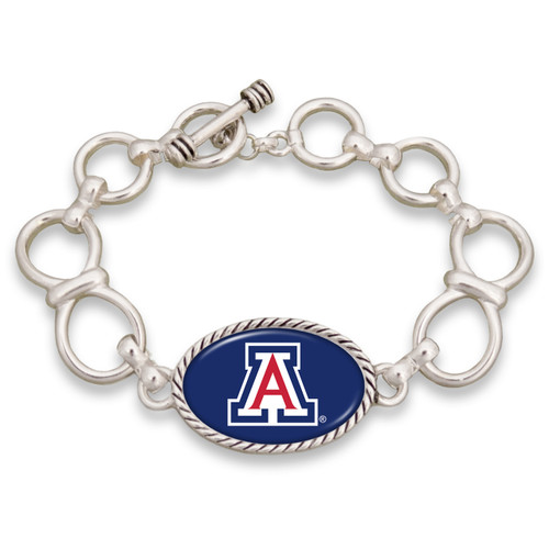 Arizona Wildcats Silver Chain Toggle College Bracelet