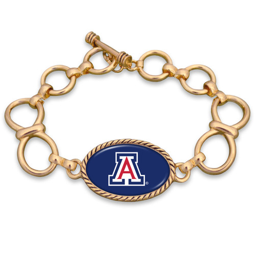 Arizona Wildcats Gold Chain Toggle College Bracelet
