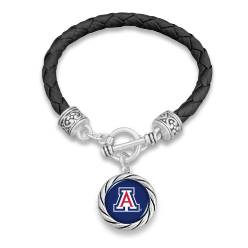 Arizona Wildcats Twisted Rope and Black Leather Bracelet
