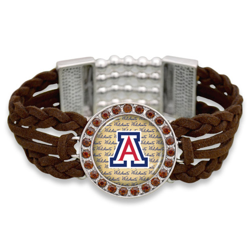 Arizona Wildcats Brown Braided Suede with Script Background College Bracelet