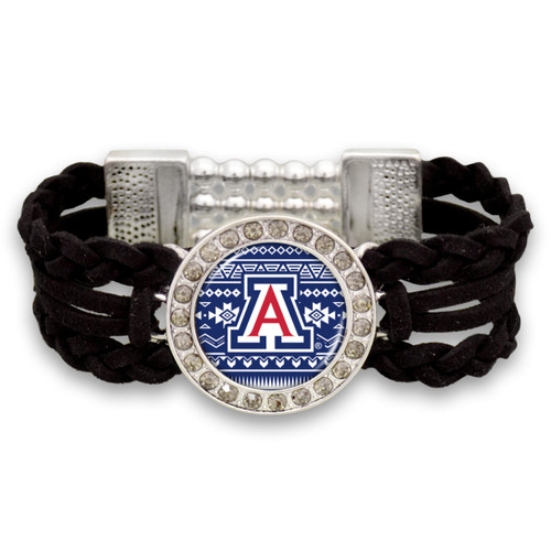 Arizona Wildcats Black Braided Suede with Script Background College Bracelet