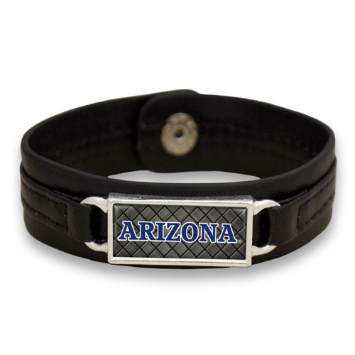 "Arizona Wildcats Black ""Edge"" Leather Nameplate with Tile Background College Bracelet"