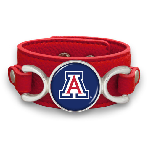 "Arizona Wildcats ""Moto"" Team Color Leather Strap College Bracelet"