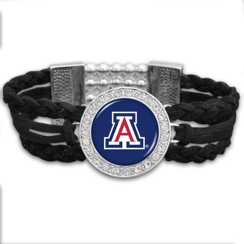 Arizona Wildcats Black Braided Suede College Bracelet