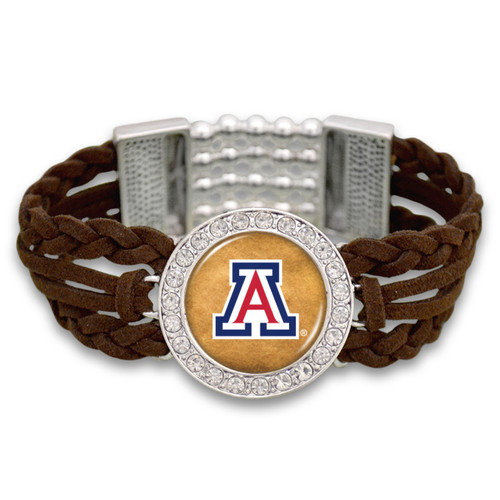 Arizona Wildcats Brown Braided Suede College Bracelet