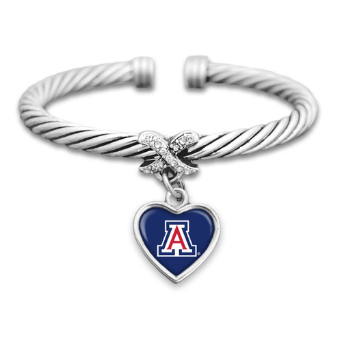 Arizona Wildcats Heart Drop with Crystal X Cuff Bracelet