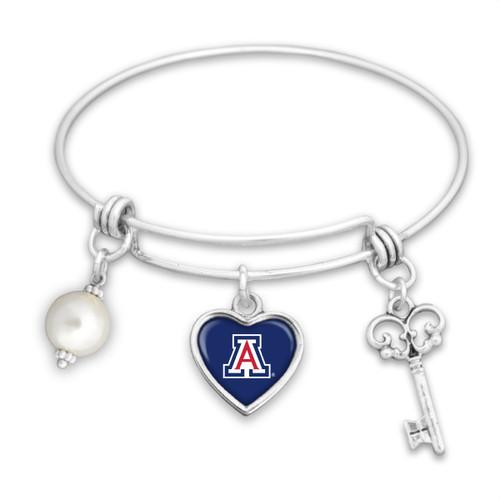 Arizona Wildcats Pearl, Logo, and Key Memory Wire Bracelet