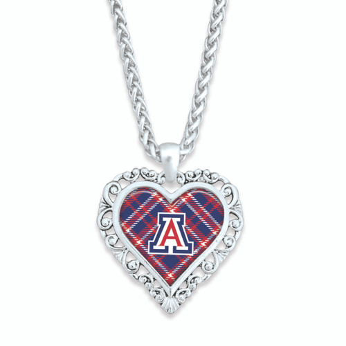 Arizona Wildcats Frills Heart- Plaid  Necklace