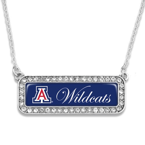 Arizona Wildcats Silver Crystal Name Plate Necklace