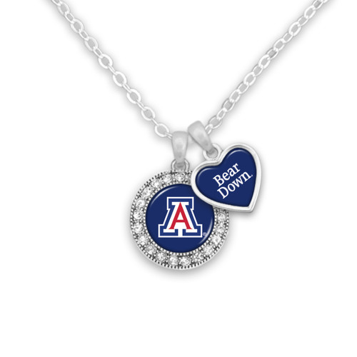 Arizona Wildcats Round Logo with Spirit Slogan Heart Necklace