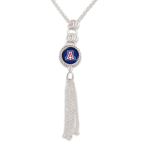 Arizona Wildcats Silver Tassel Necklace