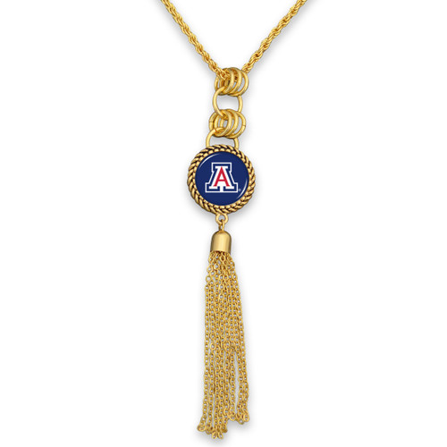 Arizona Wildcats Gold Tassel Necklace