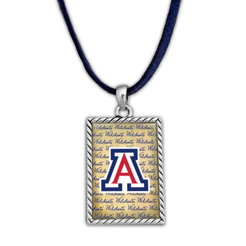 Arizona Wildcats Suede Necklace with Parchment Script Background