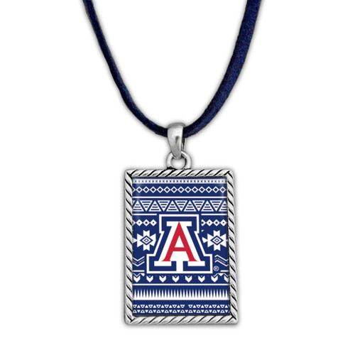 Arizona Wildcats Rectangle Logo with Geometric Background Necklace