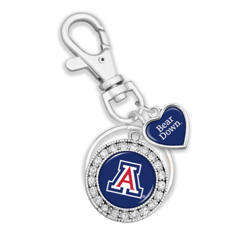 Arizona Wildcats Round Logo with Spirit Slogan Heart Accent Key Chain/Zipper Pull